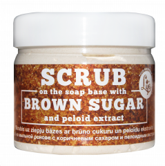 Scrub on the soap base with brown sugar and peloid extract